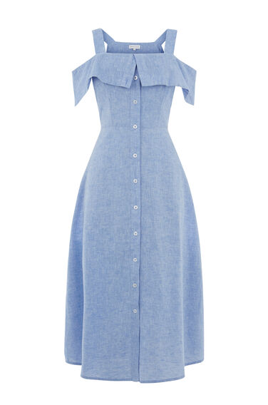 CHAMBRAY BUTTON THROUGH DRESS