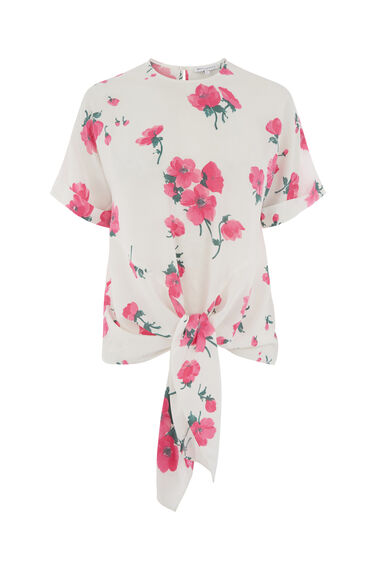 DELIA FLORAL FLUTED SLEEVE TOP