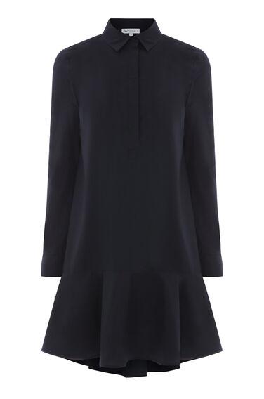 PEPLUM COTTON SHIRT DRESS