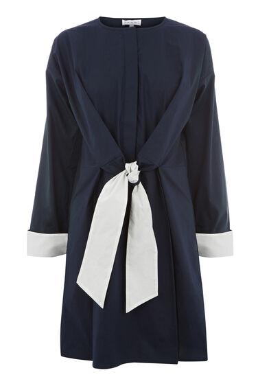 CONTRAST TIE COTTON DRESS