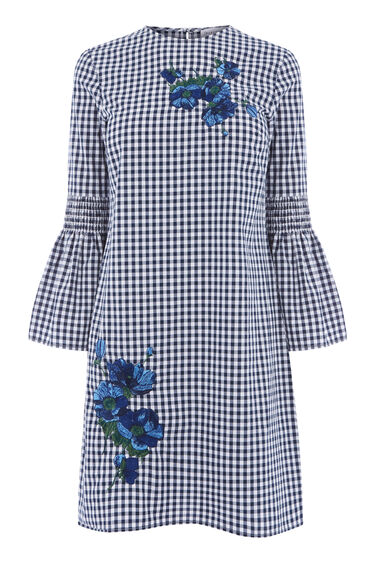DELIA EMBROIDERY GINGHAM DRESS