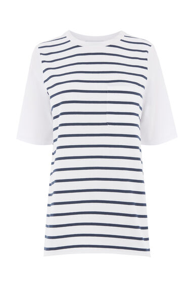 STRIPE COTTON BACK POCKET TEE