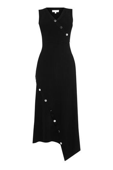 ASYMMETRIC BUTTON MAXI DRESS