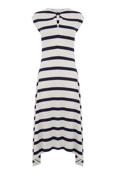 WIDE STRIPE KNOT NECK DRESS