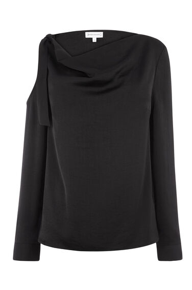 TIE SHOULDER COWL NECK TOP