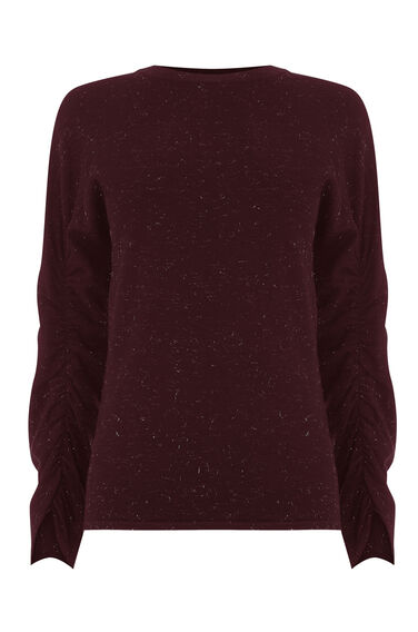 SPARKLE RUCHED SLEEVE JUMPER
