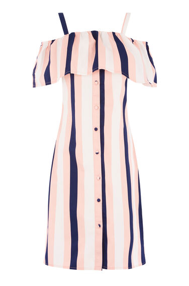 SINGLE STRIPE RUFFLE DRESS
