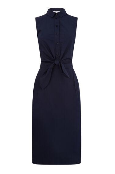 TIE FRONT COTTON SHIRT DRESS