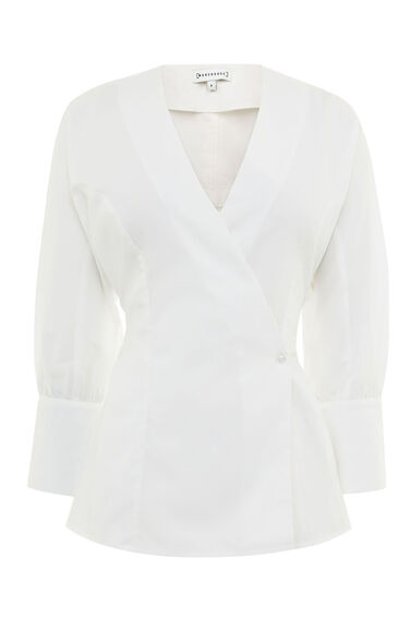 COTTON RUCHED DETAIL SHIRT