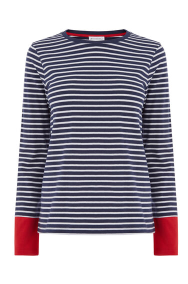 CONTRAST CUFF STRIPE TOP