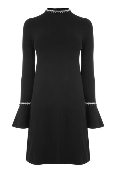EMBELLISHED FLARE CUFF DRESS
