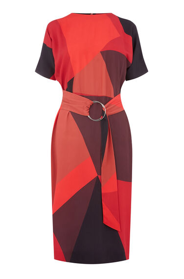 GEO PRINT WIGGLE DRESS