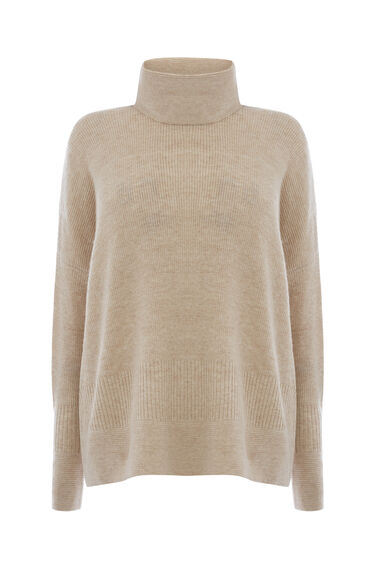 RIBBED BOXY COWL NECK JUMPER