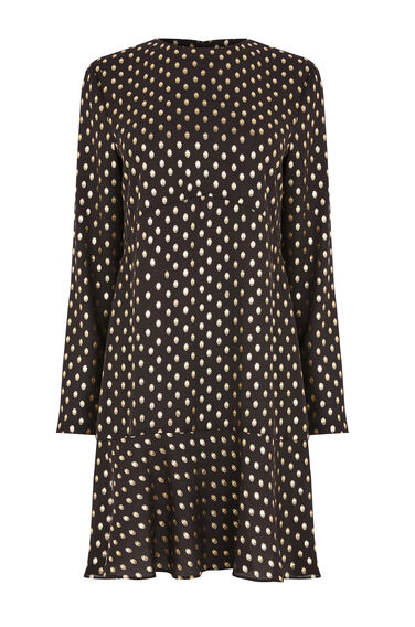 METALLIC SPOT RUFFLE HEM DRESS