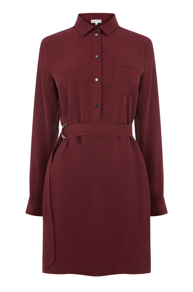POPPER BELTED SHIRT DRESS