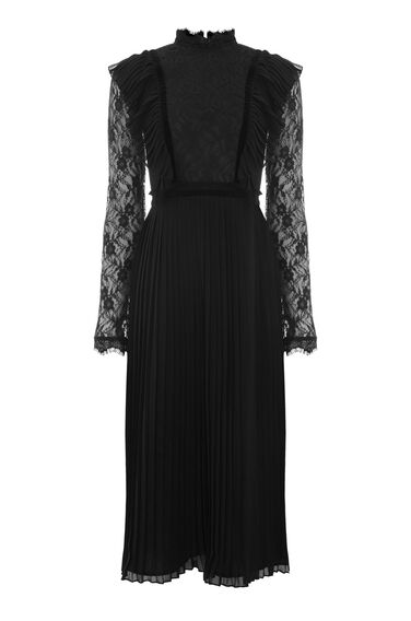 PLEAT AND LACE DRESS