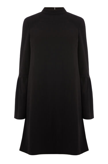 FLUTE SLEEVE CREPE DRESS