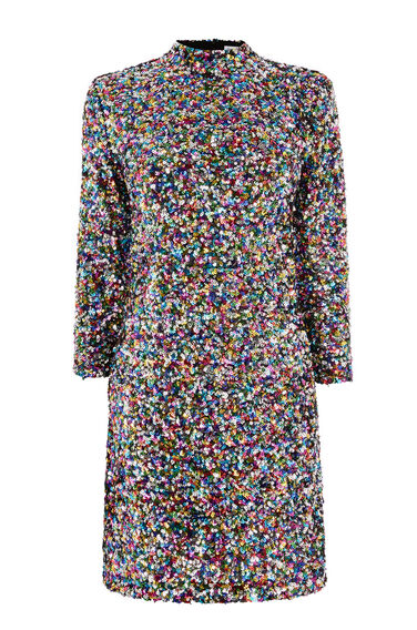 RAINBOW SEQUIN HIGH NECK DRESS
