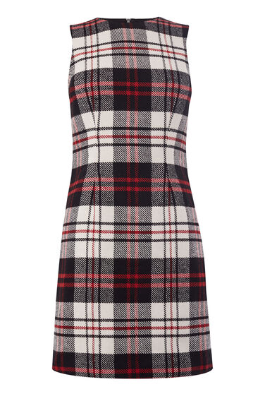 RED CHECK SHIFT DRESS
