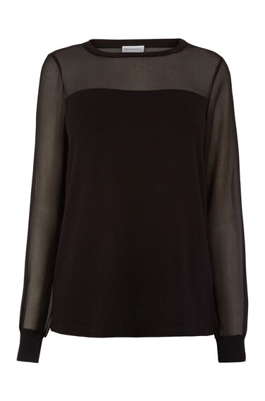 SHEER SLEEVE WOVEN MIX TOP