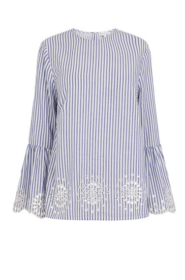 STRIPE BRODERIE TRIM TOP