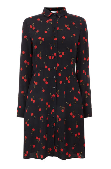CHERRY PRINT SHIRT DRESS
