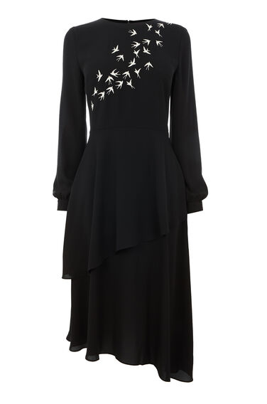 SWALLOW EMBROIDERED MIDI DRESS