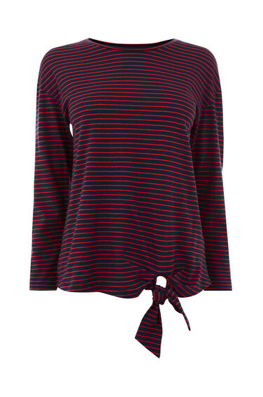 STRIPE LONG SLEEVE TIE TOP