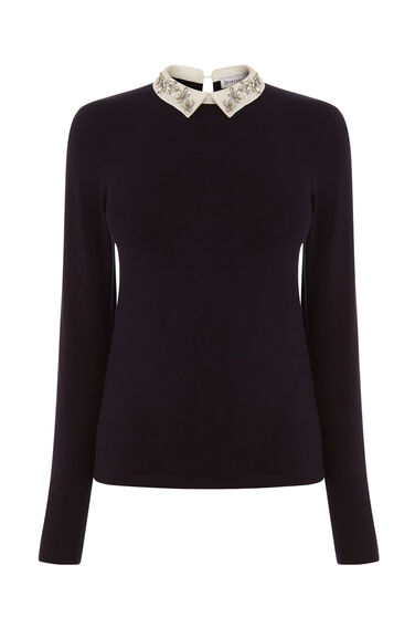 DIAMANTE COLLAR JUMPER