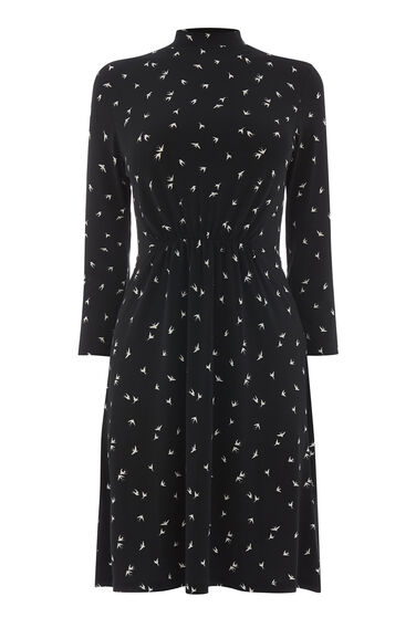 SWALLOW PRINT HIGH NECK DRESS