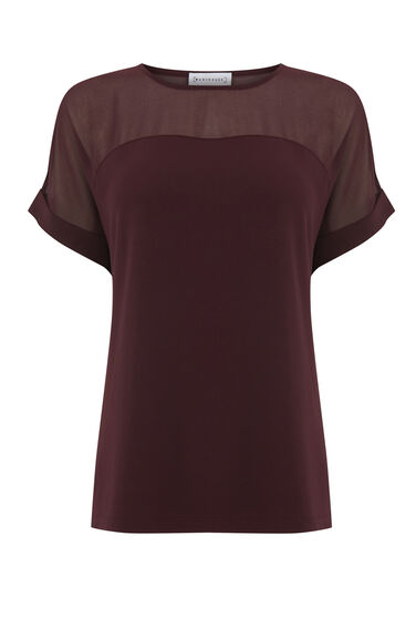 SHEER PANEL SHORT SLEEVE TOP