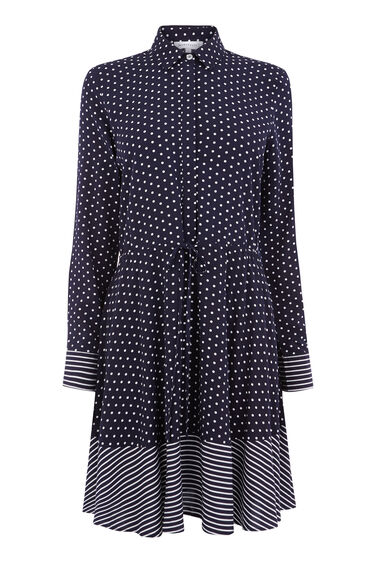 STRIPE AND SPOT SHIRT DRESS