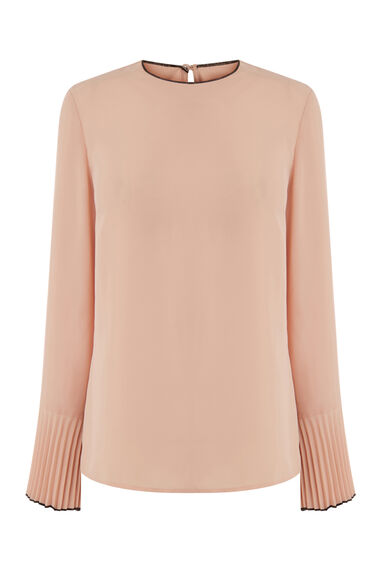 TIPPED PLEAT SLEEVE TOP