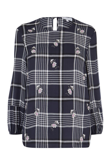 DAISY EMBROIDERED CHECK TOP