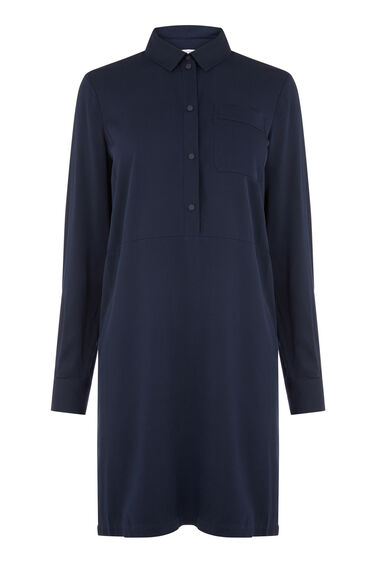POPPER PLACKET SHIRT DRESS