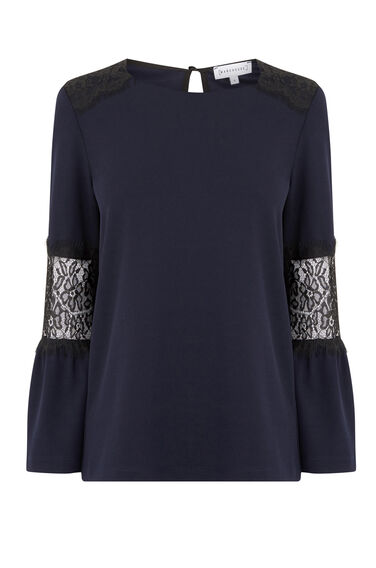LACE INSERT CREPE TOP
