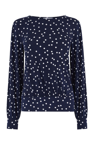 POLKA DOT BALLOON SLEEVE TOP