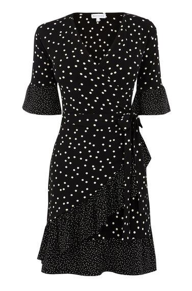 MIXED SPOT FRILL DRESS
