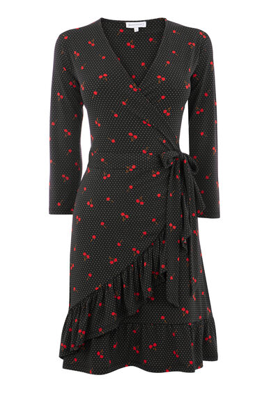 CHERRY SPOT FRILL DRESS