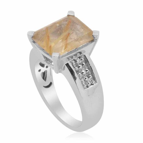 Aurelia Rutilated Quartz (Oct 4.00 Ct), White Topaz Ring in Platinum Overlay Sterling Silver 4.250 Ct.