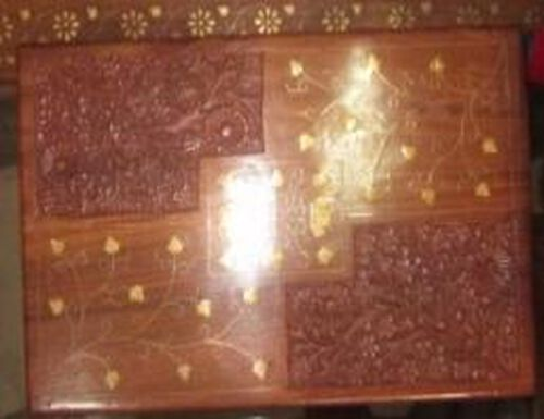 Leaf Brass Inlay Indian Rosewood Carved 2 Tier Jewellery Box with Black Velvet (Size 12x8x3.75 inch)