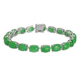 Green Jade (Ovl) Bracelet (Size 7.5) in Platinum Overlay Sterling Silver 36.750 Ct.