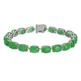Green Jade (Ovl) Bracelet (Size 7) in Platinum Overlay Sterling Silver 34.500 Ct.