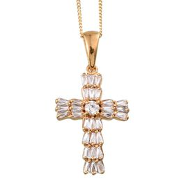 J Francis - 14K Gold Overlay Sterling Silver (Rnd) Cross Pendant With Chain Made with SWAROVSKI ZIRCONIA