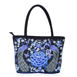 Shanghai Collection Blue Colour Peacock and Floral Pattern Black Colour Tote Bag (Size 33.5x28x13 Cm)
