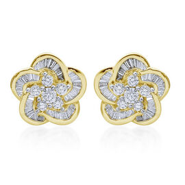 ILIANA 18K Yellow Gold 1 Carat Diamond Floral Stud Earrings IGI Certified SI G-H with Screw Back.