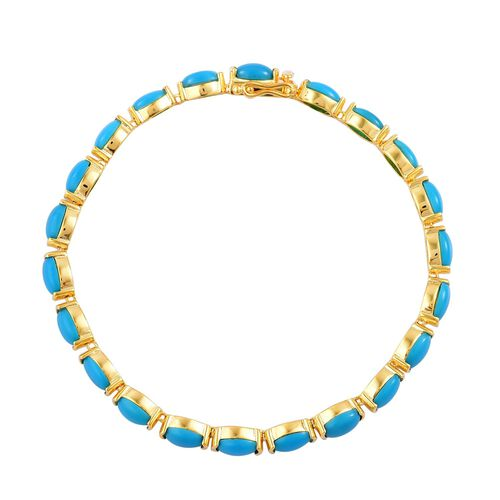 AAA Arizona Sleeping Beauty Turquoise (Ovl) Tennis Bracelet (Size 7.75) in Yellow Gold Overlay Sterling Silver 12.500 Ct.