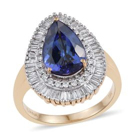 ILIANA 18K Yellow Gold 3.35 Carat AAA Tanzanite Pear Halo Ring wtih Diamond SI G-H.