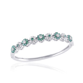 Kagem Zambian Emerald (Rnd), White Sapphire Bangle (Size 7) in Platinum Overlay Sterling Silver 4.000 Ct.
