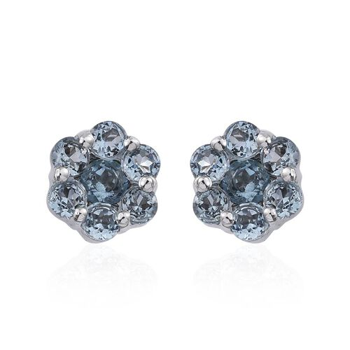 9K W Gold AAA Santa Maria Aquamarine (Rnd) Stud Earrings (with Push Back) 0.850 Ct.